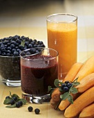 Blueberry juice, blueberries, carrot juice and carrots
