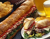 Pasrty Sub with Beer and Chips
