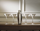 Four Martini Glasses with Cocktail Shaker