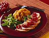 Sliced Turkey with Cranberry Sauce and Squash