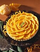 Whole Orange Tart with Mint Garnish