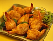 Crispy Fried Shrimp on a dish with Kiwi