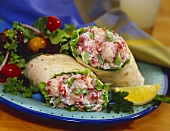 Lobster Salad in a Tortilla with Side Salad