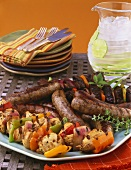 Grill platter with sausages and kebabs