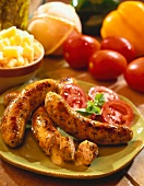 Cheese-stuffed sausages