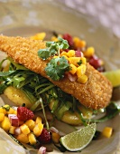 Fried Fish with Fruit Salsa Over Green Onions