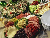 Cold cuts platter, cheese platter and wraps
