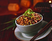 Bowl of Asian Fried Rice with Chopsticks