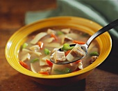 Spoonful of Chicken Soup Over Bowl