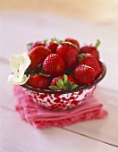 Fresh Strawberries in a Speckled Bowl