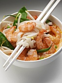 Laksa (Rice noodle soup with prawns, S.E. Asia)