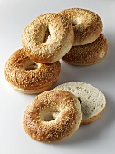 Sesame bagels, whole and split