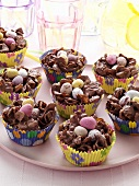 Chocolate Easter Nests in Cupcake Liners
