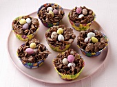 Plate of Easter Candy Nests in Cupcake Liners