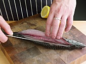 Man Slicing Mackerel with Knife on Cutting Board