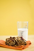 Granola Cookies with a Glass of Milk