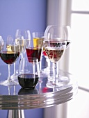 Various Wine Glasses on Metal Table