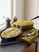 Mashed Potatoes and Macaroni and Cheese in Baking Dishes