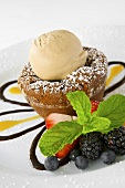 Flourless Sunken Chocolate Cake with Kona Coffee Ice Cream