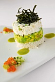 Reconstructed California Roll with Dungeness Crab Salad, Avocado, Rice and Cilantro Vinaigrette