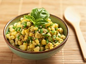 Corn Salad with Peppers, Sesame Seeds and Basil