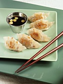 Fried Pork Dumplings with Dipping Sauce