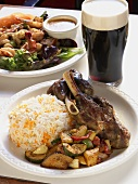 Lamb with Roasted Vegetables and Somali Rice; Guinness