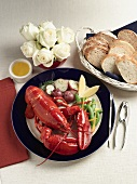 Boiled Lobster with Red Potatoes and Drawn Butter