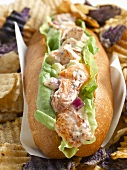 Lobster Roll with Potato Chips, Close Up