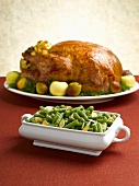 Green Beans with Slivered Almonds; Roast Turkey