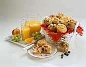 Basket of Assorted Muffins; Orange Juice