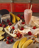 Banana Split and Strawberry Milkshake on Diner Counter