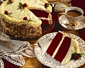 Slice of Red Velvet Cake with Cup of Coffee and Cake