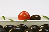 Kalamata olives, a cherry tomato and rosemary