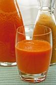 Carrot and orange juice and peach juice