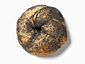 A poppyseed bagel, seen from above