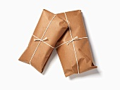 Two pieces of meat wrapped in brown paper