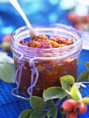A jar of rose hip chutney