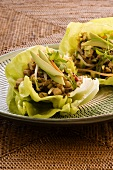 San Choy Bow (avocado and chicken wrapped in lettuce leaves, China)