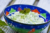 Cucumber salad with a sour cream dressing