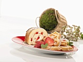 Strawberry Swiss roll and waffles with strawberries