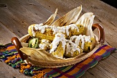 Grill Corn with Crumbled Cheese and Cream (Elote Fresco)