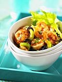 Shrimp salad with olives and celery