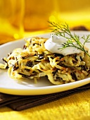 Wild rice cakes with sour cream