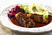 Beef roulade with red cabbage and mashed potatoes
