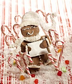 Gingerbread Man with Candy Canes, Snow and Candies