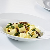 Pappardelle with morel mushrooms and parsley
