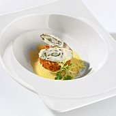 Turbot roulade on bed of pepper rice