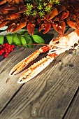 Crayfish and scampo on a wooden table