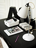 A black and white designer desk